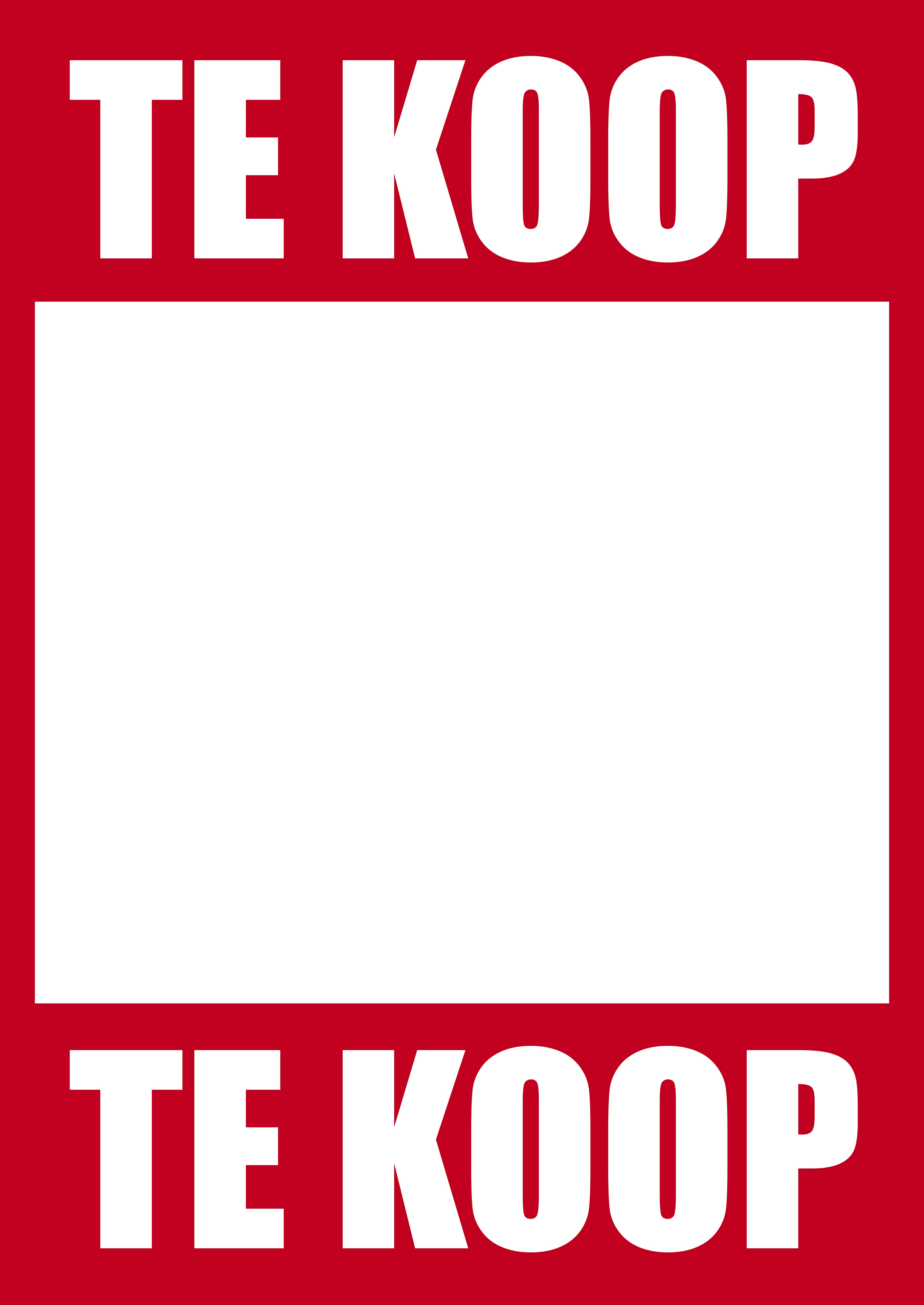 Te Koop poster eigen tekst en telefoonnummer