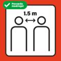 corona preventie sticker houd 1.5m afstand