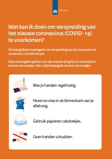 corona virus poster hygiene maatregelen overheid