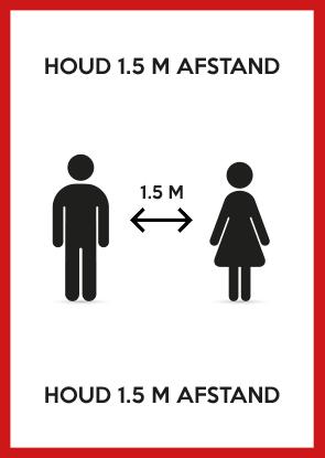 Houd minimaal 1.5 meter afstand poster