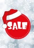 Kerst sale poster met kerst muts raambiljet