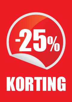 raamposter 25 procent korting voor winkeliers