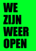 Neon groen raamposter openingstijden
