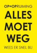 Gele raamposter alles moet weg