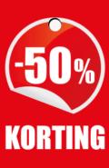 prijskaartje 50% korting