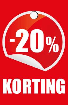 prijskaartje 20% korting
