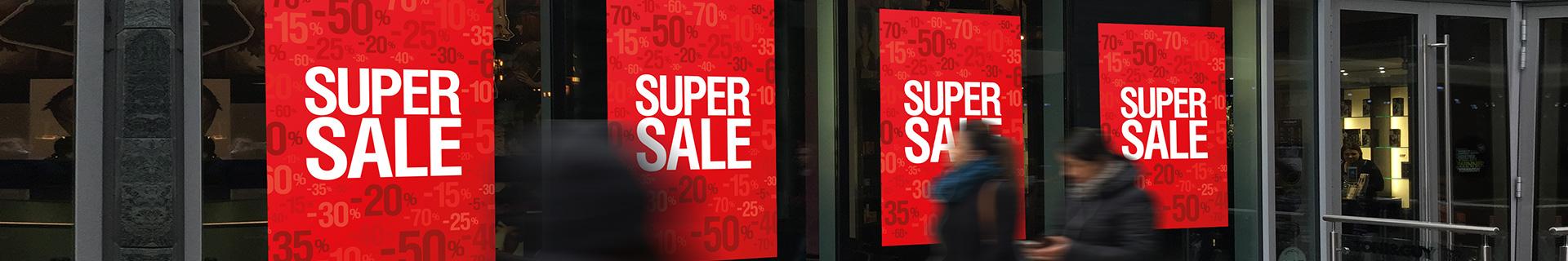 raamposters sale en leergverkoop banners bestellen