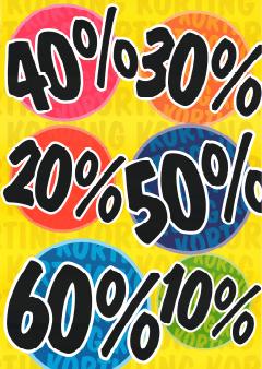 kortingspercentage banner voor winkelraam