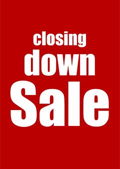 Raamposter Closing Down Sale