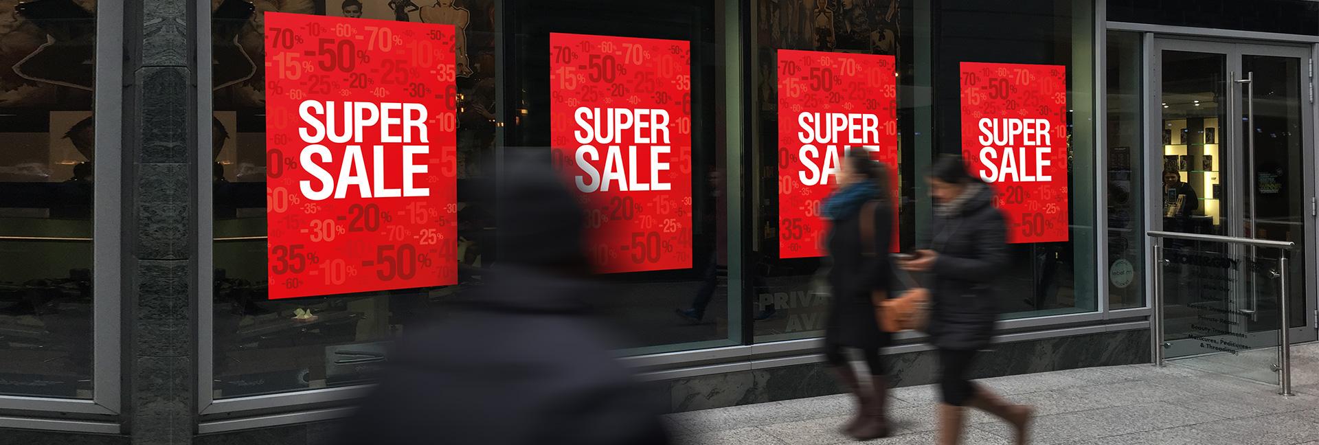 sale posters en leegverkoop raambiljetten voor winkeliers