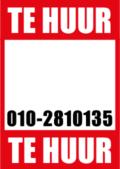 te huur poster met eigen telefoonnummer