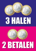 3 halen 2 betalen poster