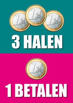 3 halen 1 betalen poster