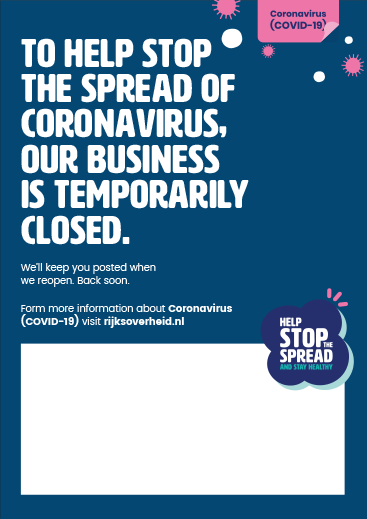temporarily closed to stop spread the virus poster for shop owners
